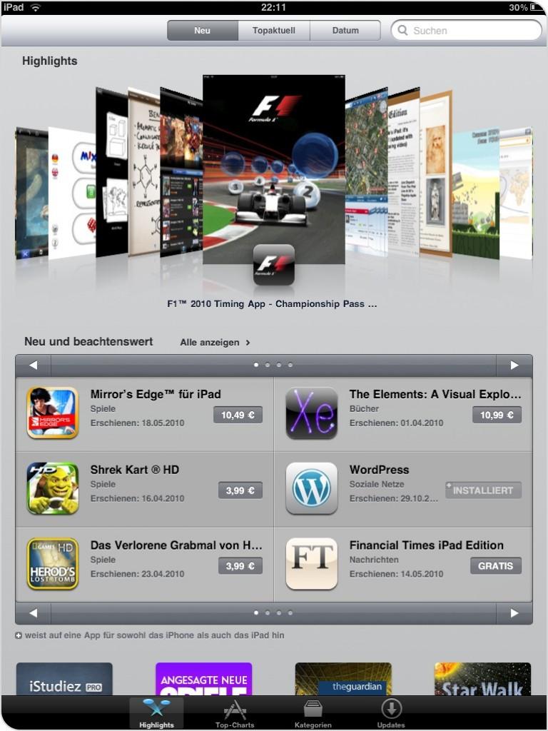 Screenshot des AppStore auf einem iPad in Deutschland