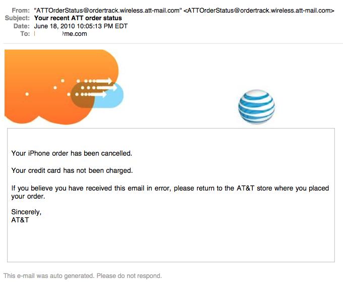 iPhone 4 Bestellung wurde storniert