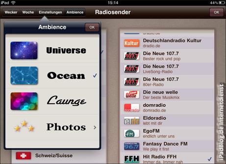Zur Entspannung führende und dynamische Wallpaper stehen dem Nutzer von SONIO HD zur Verfügung.