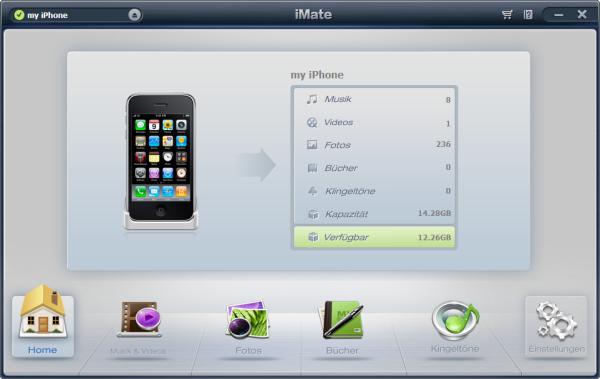 Hauptmenü von iMate