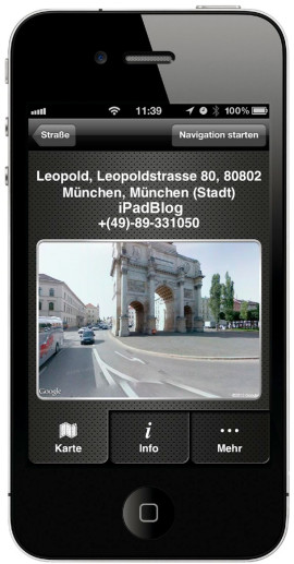 Feature in der App: NAVIGON_iPhone-2.1 mit GoogleStreetView