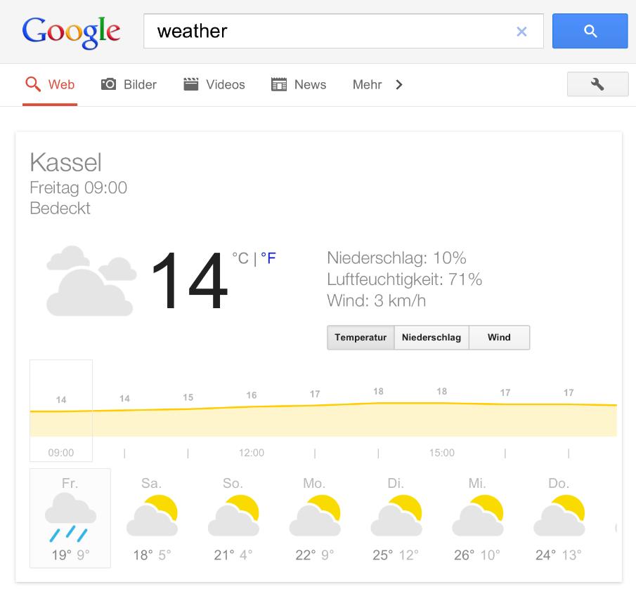 Google Wetter App für Tablet PC´s