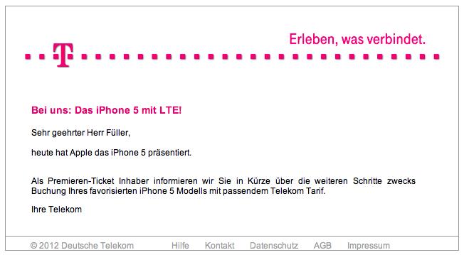 Benachrichtigung der Telekom Premieren-Ticket-Inhaber