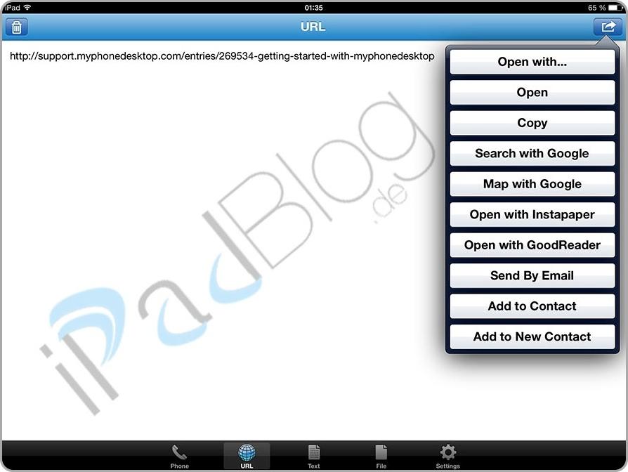 mPD auf dem iPad bei der Übertragung einer URL und den angezeigten Optionen