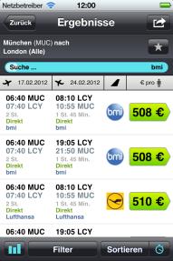 Die Flugsuche der App Skyscanner