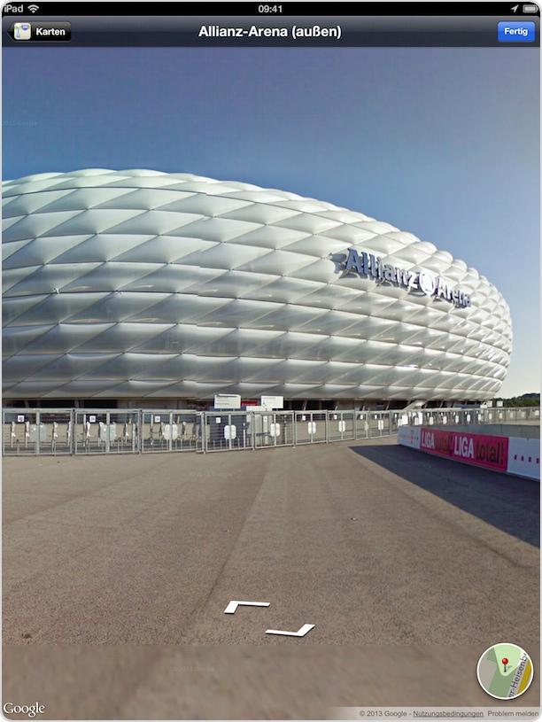 Die Münchener Alianz Arena im neuen Street View