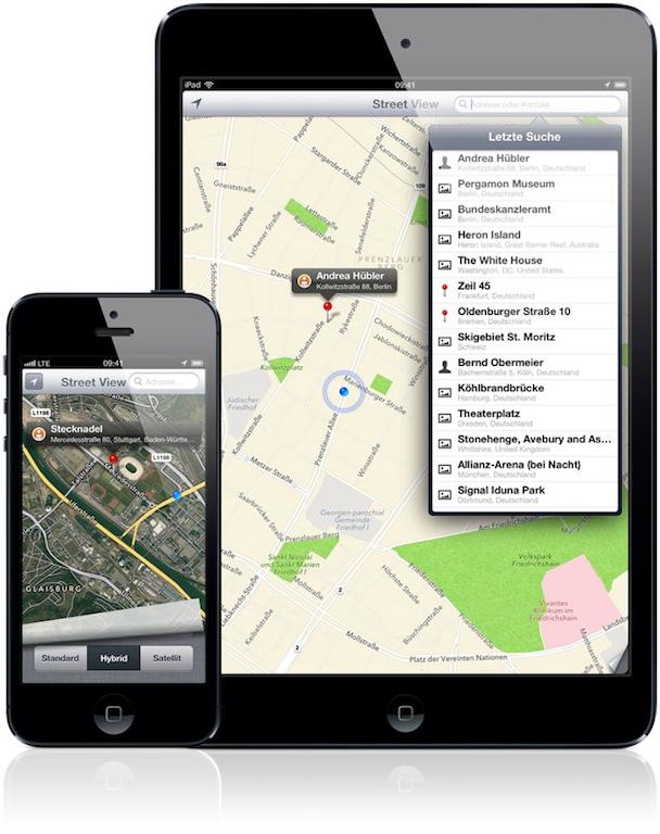 iPad und iPhone zeigen Street View