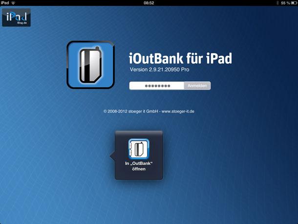 Die App registriert umgehend, welche Version der App (hier OutBank für das iPad bereits installiert ist und bietet einen direkten Kontext an