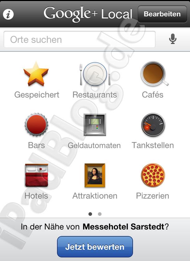 Startseite bei Google+ Local 130305