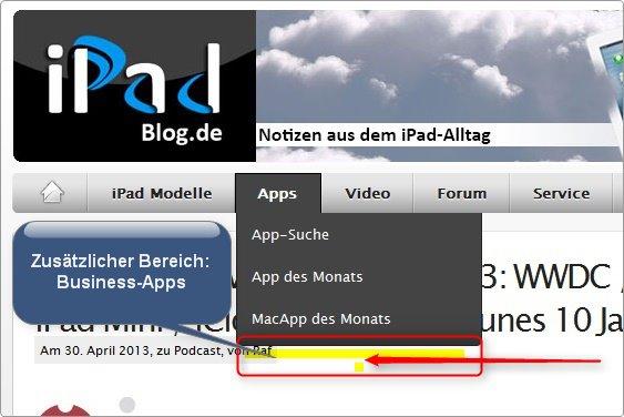 Entwurf Business-Apps im Reiter APPS auf iPadBlog.de