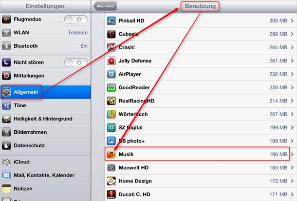 Einstellungen Benutzung iPad