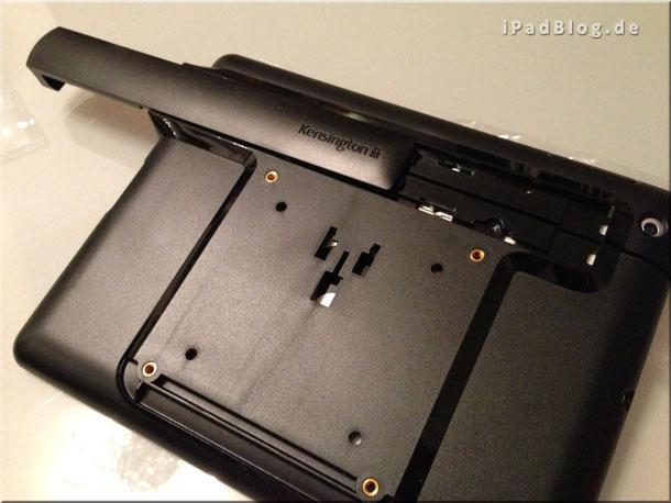 Schiebestück, um die beiden Teile der iPad-Befestigung zu fixieren
