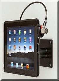 iPad mit SecureBack VESA montierbarer iPad Sicherungsrahmen an Wandbefestigung