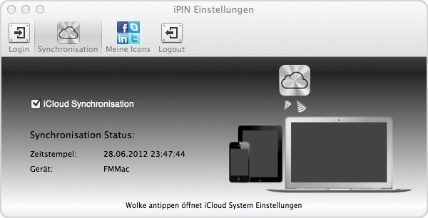 iPin verbindet sich mit der iCloud