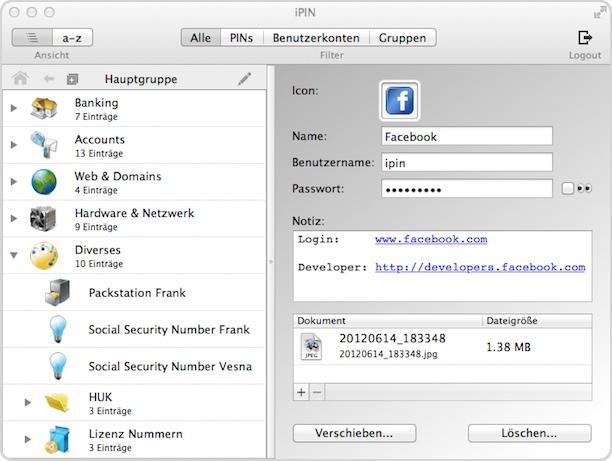 iPin auf dem Mac zeigt Eure Listen an