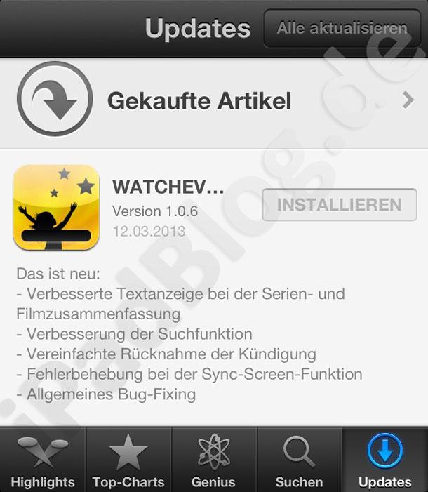 Watchever auf dem iPhone bringt ein Update