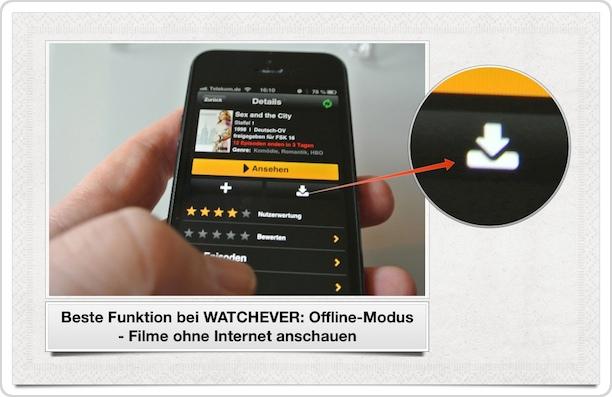Watchever Offline Modus beim iPhone
