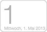 Der 1. Mai 2013 als Kalendergrafik