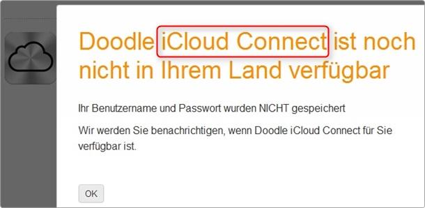 doodle iCloud-connect wird noch vorbereitet