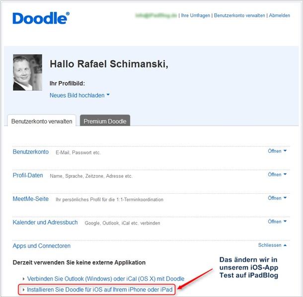 Anmeldung bei doodle im Webportal: Nicht verbunden mit iOS