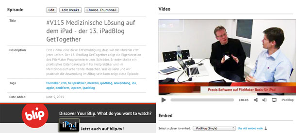 blip.tv Promo für iPadBlog.de