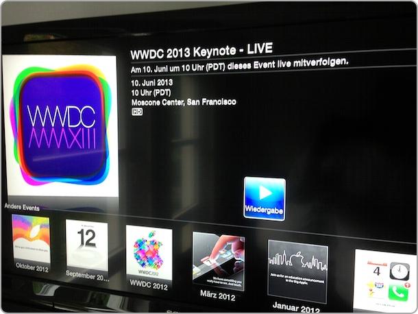 WWDC am 10. Juni 2013 über AppleTV