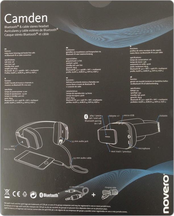 Rückseite der Packung: Novero Camden Bluetooth 4.0 Stereo-Headset mit NFC-Technologie