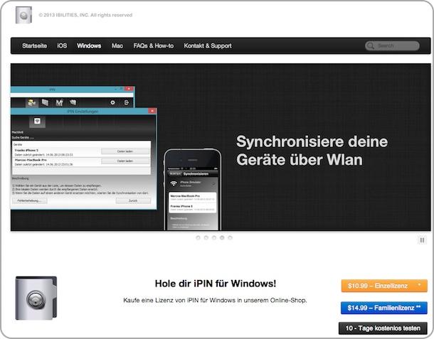 Startseite des Unternehmens mit iPin für WIndows