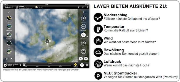 Beobachten Sie die verschiedenen Wolkenschichten und verfolgen Sie Gewitter