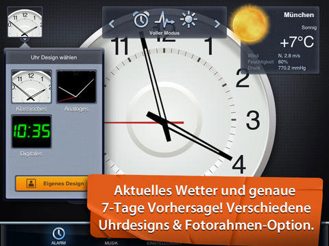 Wetteransicht München von Kluger Wecker für das iPad