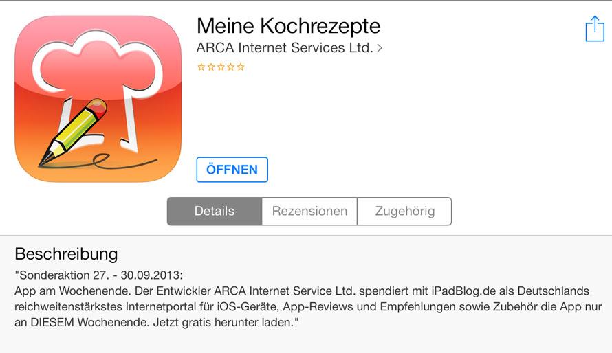 Meine Kochrezepte App - mit iPadBlog kostenfrei im AppStore