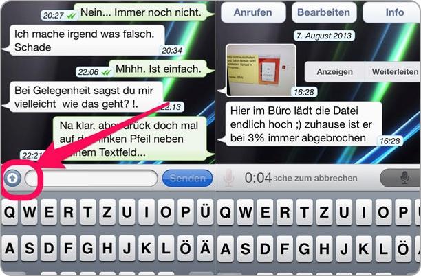 Tolle Funktionen wie VoiceMessage bei WhatsApp