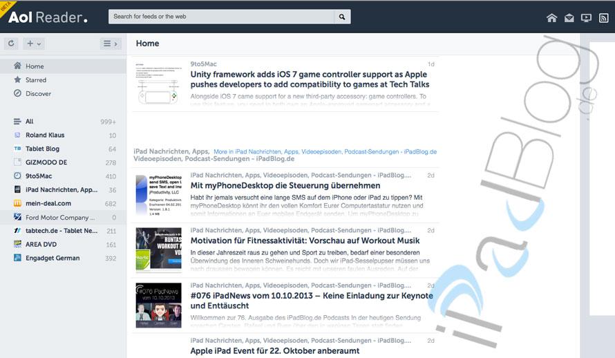 AOL Reader in der Uebersicht