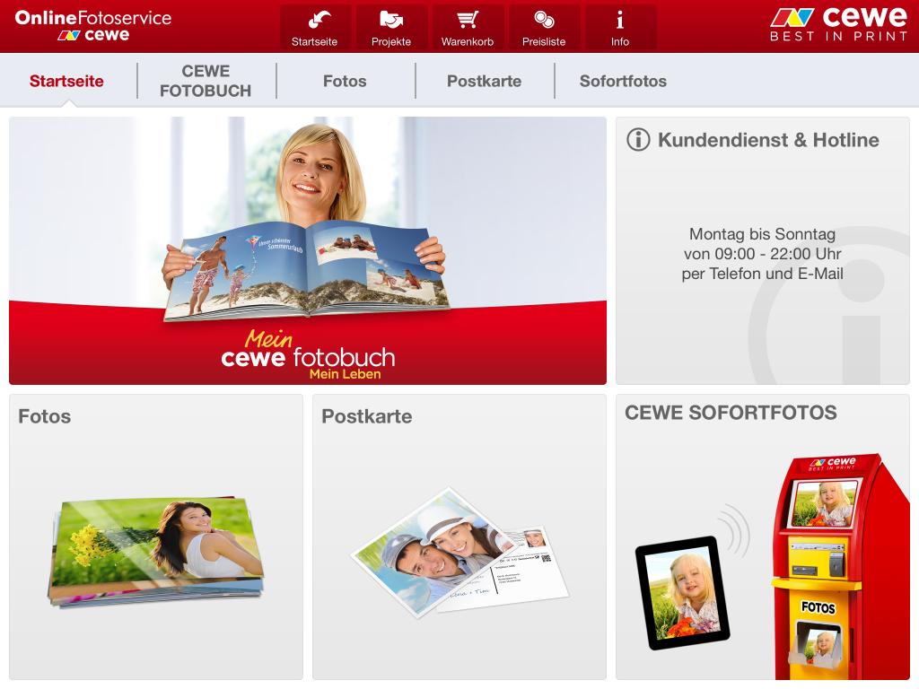 CEWE Fotobuch Hauptmenü