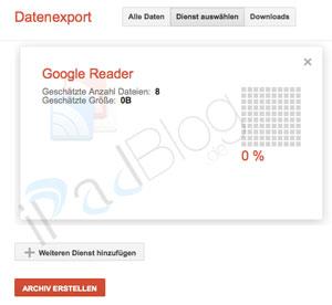 Datenexport bei Google Reader im Juli 2013