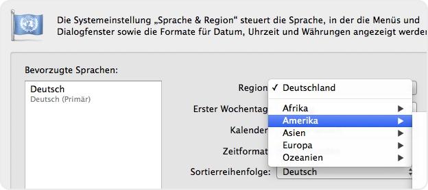 Systemeinstellungen Region und Sprache