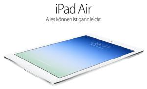 iPad Air auf der Website von Apple