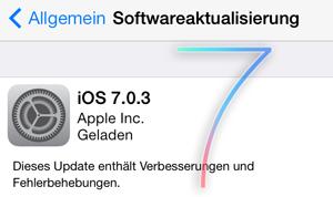 Update 7.0.3 für iPhone und iPad (knapp 50MB)