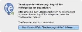 TextExpander Fehlermeldung unter Mavericks