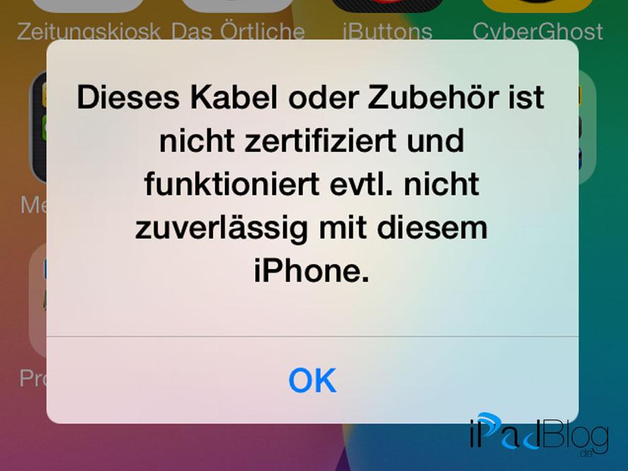 LowLight 2013 beim Aufladen von iOS-Geräten unter iOS7