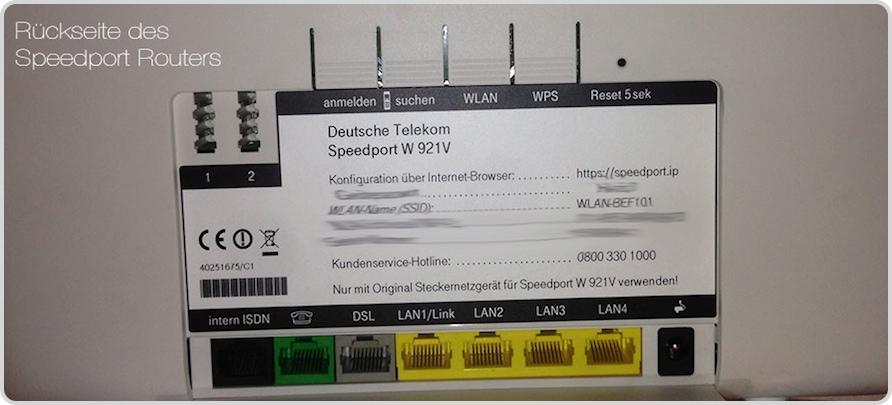 Geräte-Rückseite des Speedport Routers der Telekom
