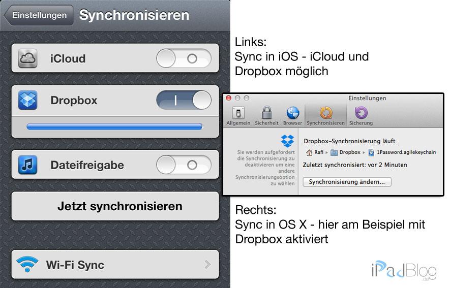 Synchronisation mit iCloud und Dropbox in 1Password möglich