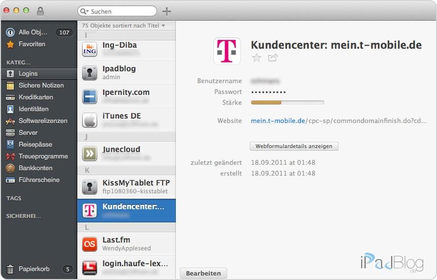 Übersicht der Passwörter in 1Password auf einem Mac