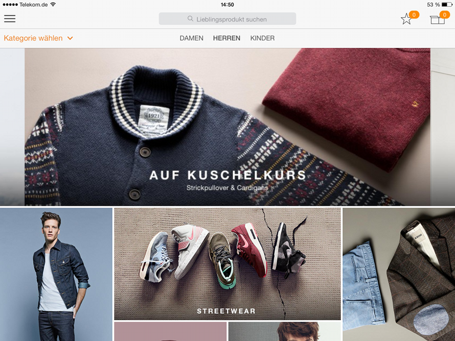 Zalando Shopping App - Themenbereich Herren