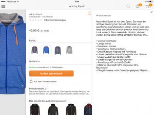 Zalando Mobil Shopping-App - Produktdetails