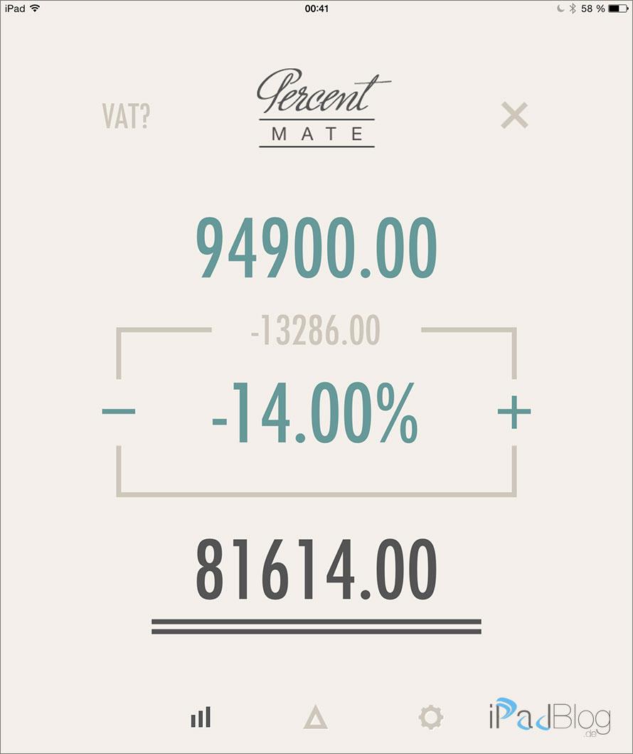 Berechnung mit Percent Mate auf einem iPad