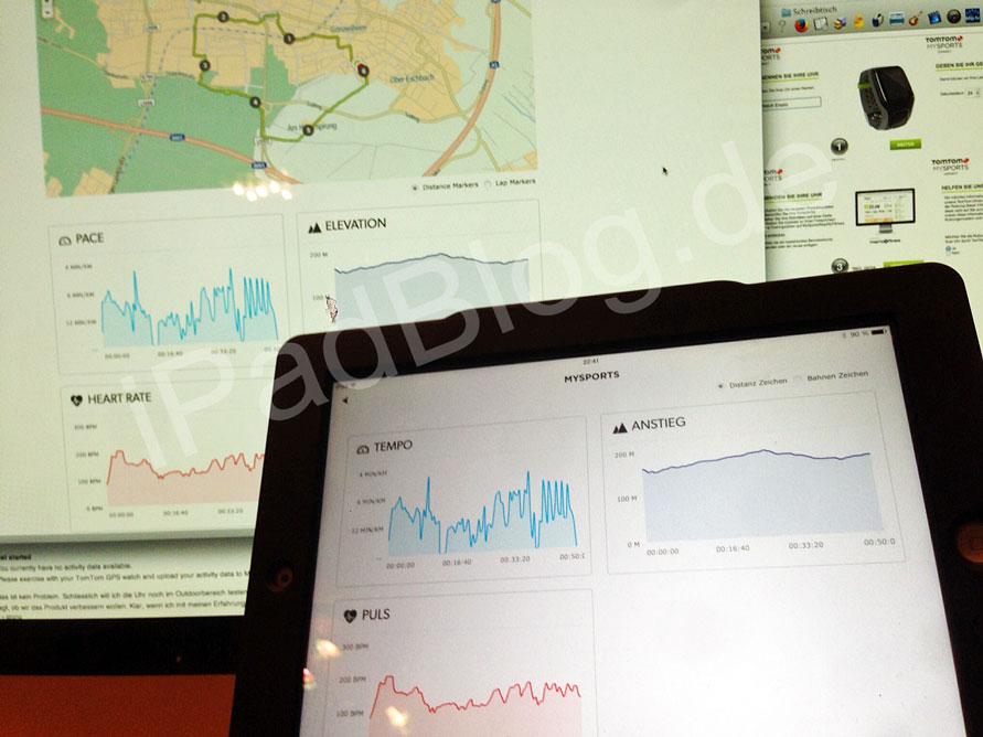 iPad Screen mit Portal MySports von TomTom