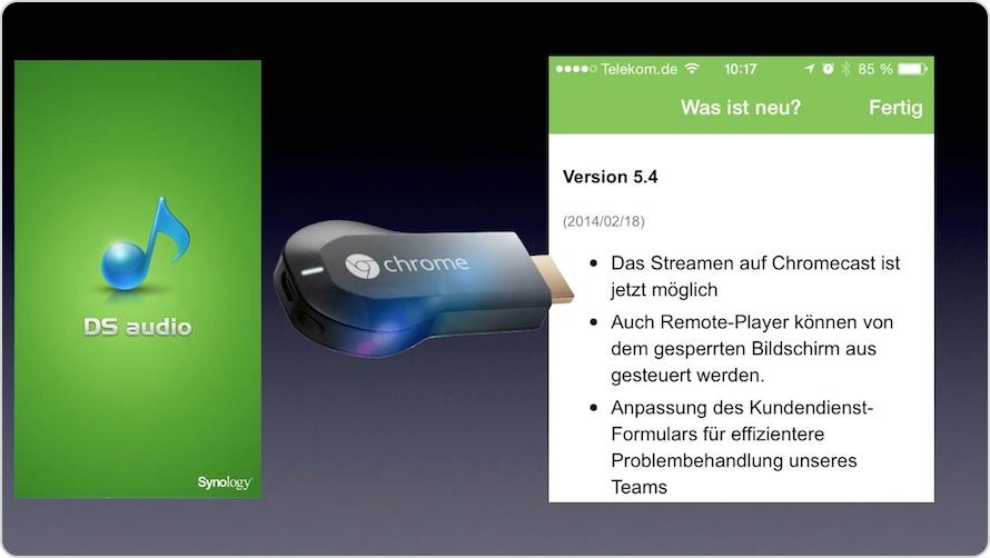 DS Audio App mit Google Chromecast Schnittstelle zum Streamen