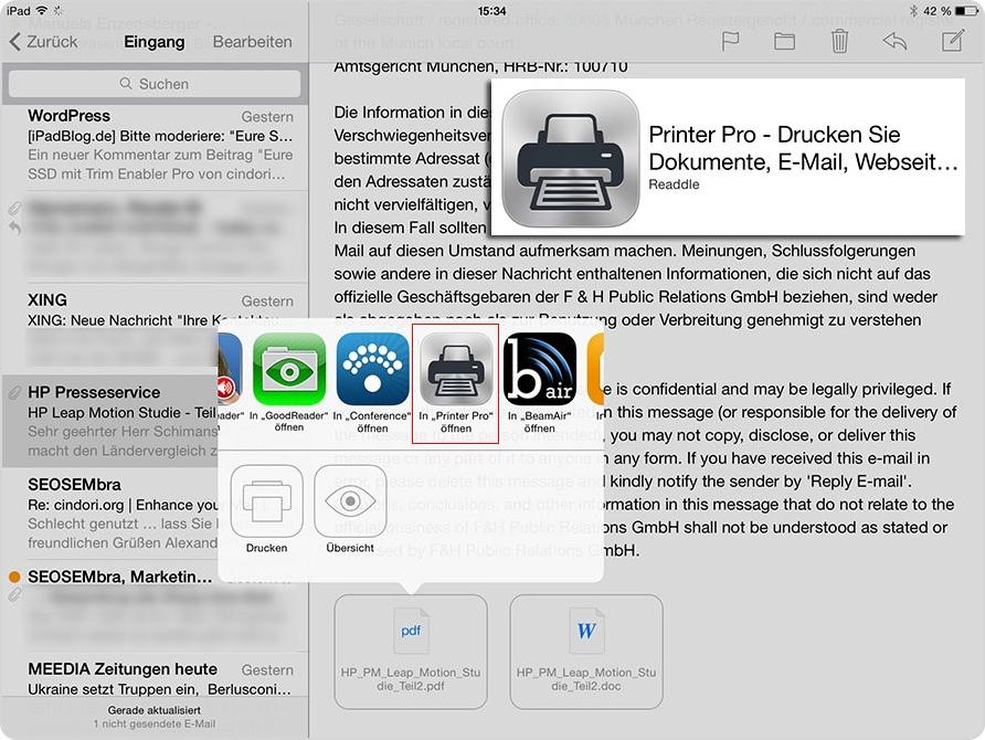So wird Printer Pro aus der App heraus aktiviert
