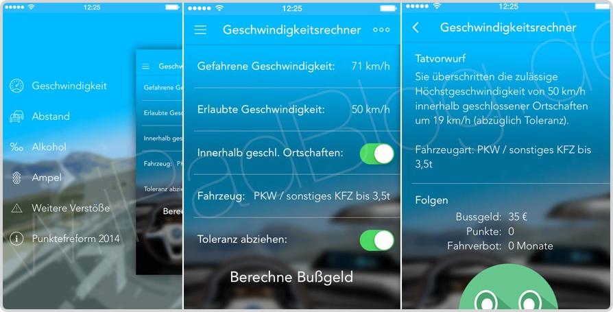 Screenshots der App Bußgeldrechner Pro 2014